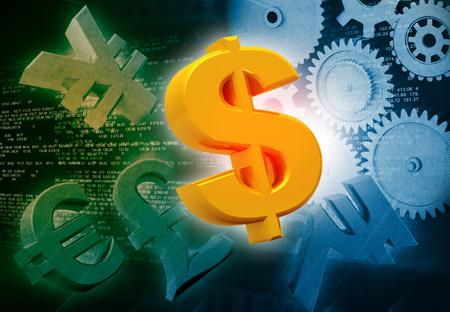 signo pesos: Monedas y engranajes internacionales, la producción industrial de ganar dinero