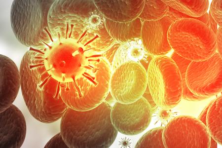 microcosmic: 3d render of Virus infecting blood cells