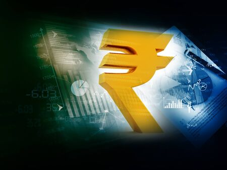 rupee: Indian Rupee icon on stock market background