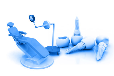 private: 3d render of Blue Dental Chair Stock Photo