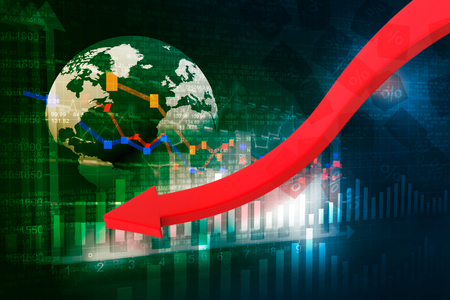 sell shares: falling graph of global stock market Stock Photo