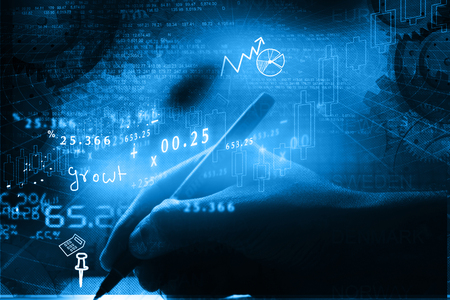 nasdaq: Analysing Stock market chart Stock Photo