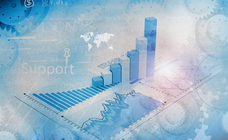 grafica de barras: El crecimiento del negocio, imagen de fondo gráficos financieros y gráficos muestra