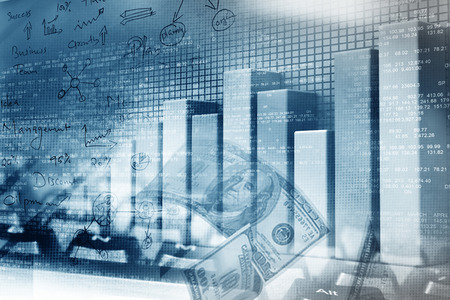 Financial graphs and charts shows business growth, background image Archivio Fotografico