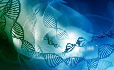 molecula: Moléculas de ADN sobre fondo azul Foto de archivo