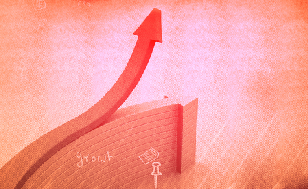 financial growth: Financial graphs and charts shows business growth, background image Stock Photo