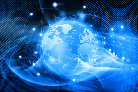 interaction: Futuristic background of Global business network, internet, Globalization concept