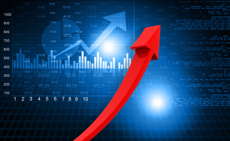 Stock market graph with moving arrow