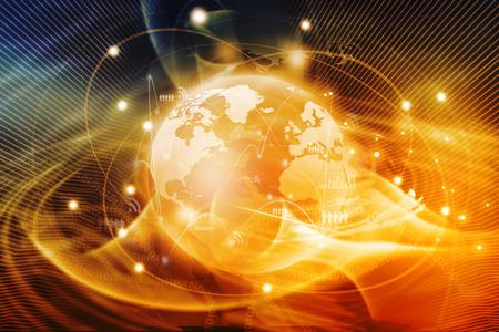 Futuristische achtergrond van het Global business netwerk, internet, globalisering-concept Stockfoto