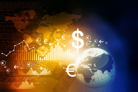 Financial charts and graphs with digital world Foto de archivo