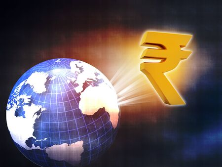 rupee: world with Rupee symbol , movement of rupee in global economy