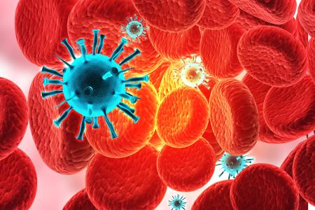 3d render of Virus infecting blood cells