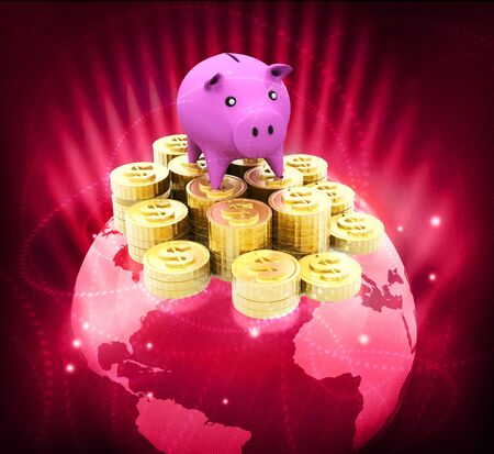 save money: Globe with dollar coins and piggy Global money saving