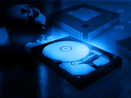 data recovery: open computer hard disk drive on digital background