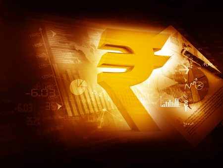 indian money: Indian Rupee icon on stock market background