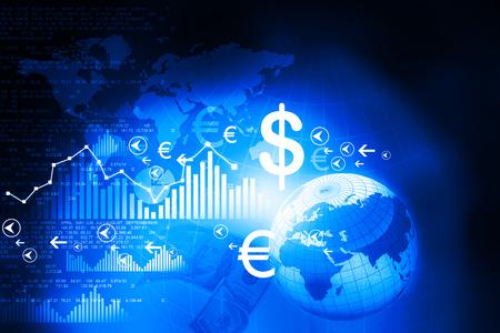 Financiële grafieken en grafieken met de digitale wereld Stockfoto - 47358857