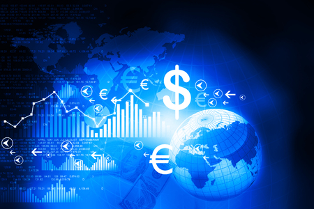 Financial charts and graphs with digital world Stock Photo