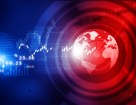 stock: Stock market graphs, business chart  with tech world