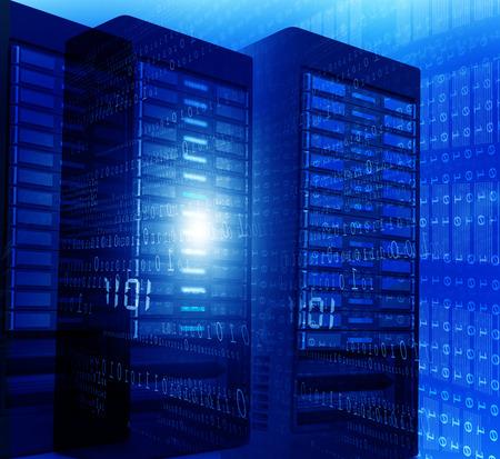server room: Computer server room with binary data's