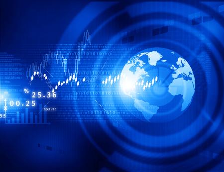 bolsa de valores: Gráficos de la bolsa, con la carta de negocios mundo de la tecnología Foto de archivo