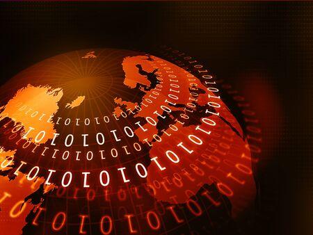 digital world: Digital world with binary code Stock Photo