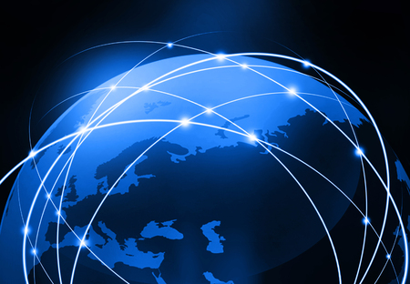 글로벌 비즈니스 네트워크, 인터넷, 세계화 개념의 미래의 배경