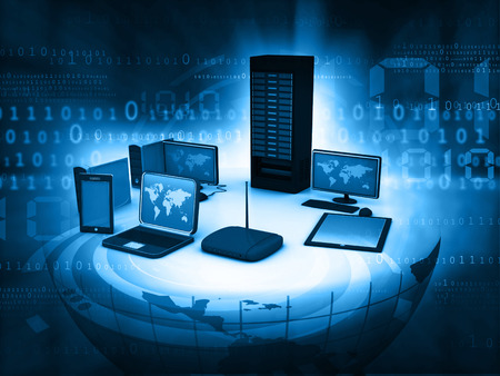 centro de computo: La red de ordenadores e internet concepto de comunicación Foto de archivo