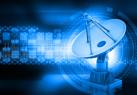 satellite tv: Satellite dish transmission data, abstract tech background