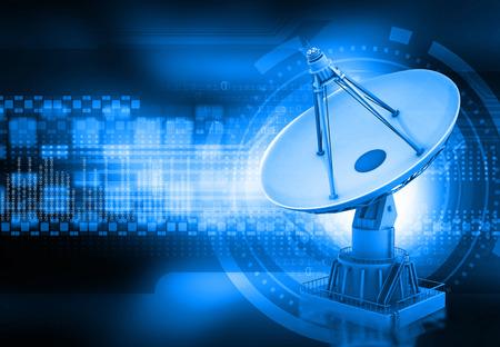 Satellitenschüssel Sendedaten, abstrakte Tech-Hintergrund