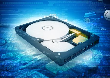 diskdrive: open computer hard disk drive on digital background