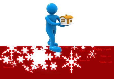christmas house: Christmas gift, man with house