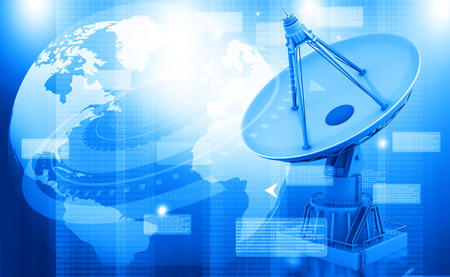 microwave antenna: Satellite dish transmission data, abstract tech background