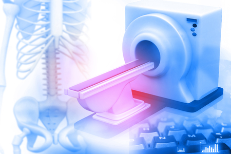 3d de escáner de imágenes de resonancia magnética, los escáneres MRI, CT con esqueleto humano Foto de archivo