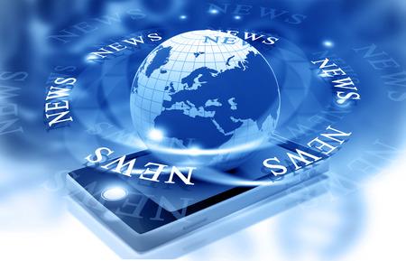 Actualités mots sur fond bleu numérique Banque d'images