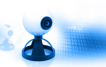binary background: web camera on binary background Stock Photo