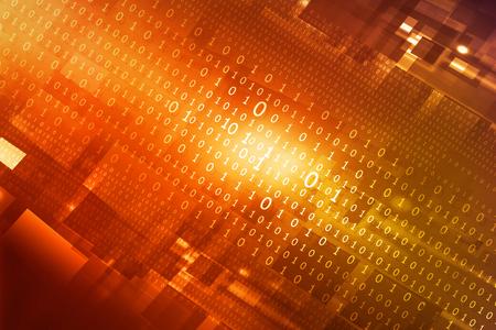 hi tech background: Binary stream, Hi-tech technological background Stock Photo