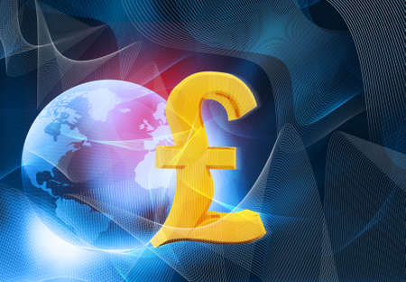 retail sales: Pound sign with world on abstract blue background