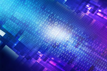 hitech: Binary stream, Hi-tech technological background Stock Photo