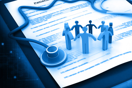 People with Medical and health insurance claim form and stethoscope