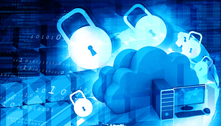 Cloud security concept. Cloud computing with padlock Stock Photo