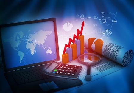 crecimiento: analizar el crecimiento del negocio con la computadora port�til Foto de archivo