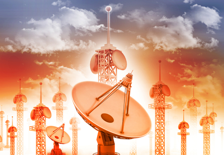 airwaves: Satellite dish antenna with telecommunication towers on blue sky