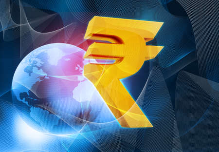 bharat: Rupee  sign with world on abstract blue background