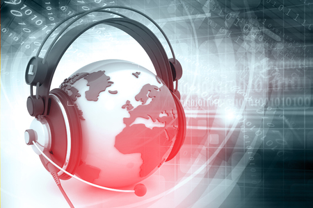 listening: Digital world with headphone , abstract tech background Stock Photo