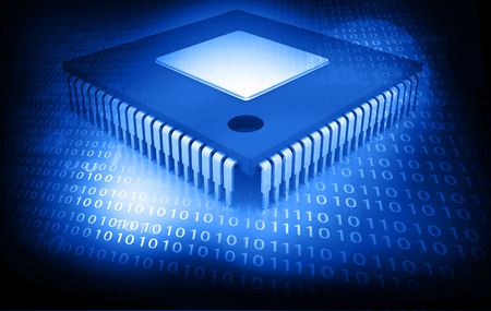 Ic: Integrated Circuit on binary background, IC chip Stock Photo