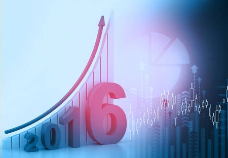 stock exchange: Financial  report of year 2016 , business background Stock Photo
