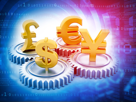 currencies: International currencies and gears , money exchange Stock Photo