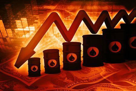 barril de petróleo: Barriles de petróleo con la caída gráfico del precio del petróleo Foto de archivo