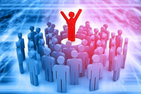 teamwork concept: Team leader, teamwork  concept on abstract background