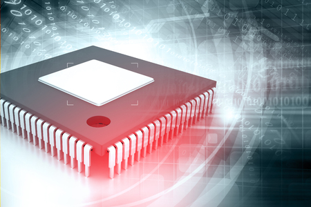 binary background: Integrated Circuit on binary background, IC chip Stock Photo
